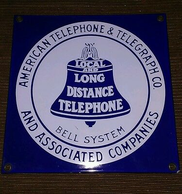 Rare American Telephone and Telegraph Advertising Porcelain Sign