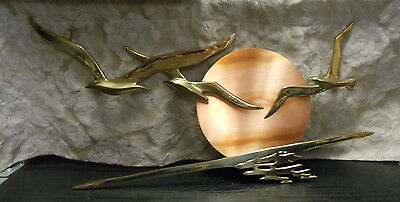 "Vintage Mid-Century Brass Birds in Flight Sunrise 18"" Metal Wall Art Copper"