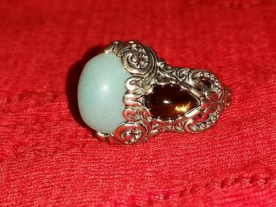 Carolyn Pollack Relios Sterling Amazonite Smoky Quartz Ring Size 6.5 Cr 925 Cp
