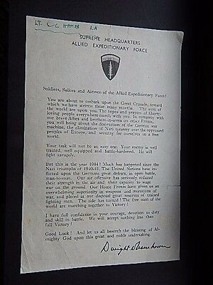 Rare & 100% Original Ww2 Shaef Dwight D Eisenhower D-Day Message To The Troops