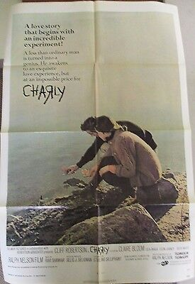 Vintage 1 sheet 27x41 Movie Poster Charly 1968 Cliff Robertson Claire Bloom