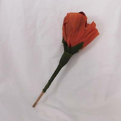 Whimsical orange/red paper blow out Rose flower Halloween Costume decoration