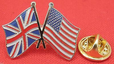 America USA UK Union Jack Flag Friendship Lapel Pin Badge United States Brooch