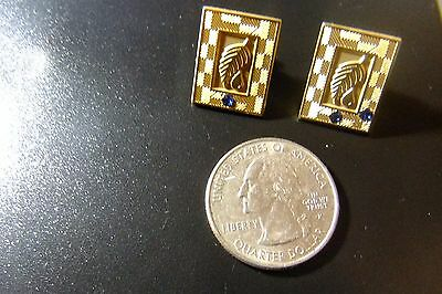 Two Gold-Color Multi-Level Marking Award Pins - With Sapphires