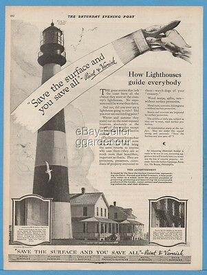 1920 Save The Surface Committee Campaign Paint Varnish Lighthouse Ad