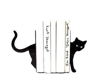 Atelier Article - Gift Steel bookends - Cat (Black)