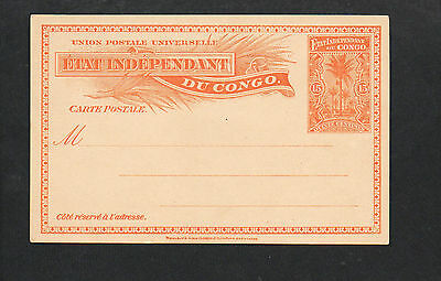 INDEPENDANT CONGO MINT POSTAL STATIONERY CARD 15 cents 1900