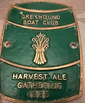 Brass canal narrow Boat Plaque Harvest Ale Gathering 1986