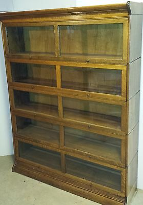 Antique Oak Bookcase – rare double wide – Five High Sectional stacking barrister