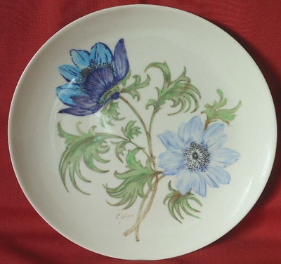 Vintage Branksome Pottery Large Plate, Blue Flowers, Signed Miriam, c.1960's