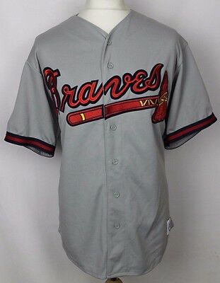 Vintage Atlanta Braves Baseball Jersey Majestic Mens Large Grey