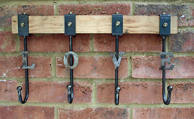 Coat Rack Retro Industrial Large Love Strong Iron & Wood Wall 4 Hooks Hall New