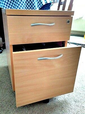 Single Filing Cabinet and Draw Very Solid Foolscap Home Office Beech Wood Effect