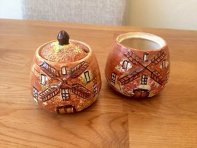 Very Rare! Price Bros Cottage Ware, WINDMILL pots! Handpainted.