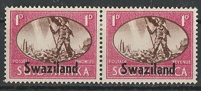 1945 SOUTH AFRICA o/w SWAZILAND 1d VICTORY VERT PAIR SG 39 L/M/MINT