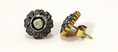 New 925 Sterling Silver Natural White Topaz & Real Diamonds  Gold plated Studs