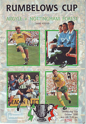 Plymouth Argyle V Nottingham Forest Cup 31 Oct 1990 Vgc Quality Prog.