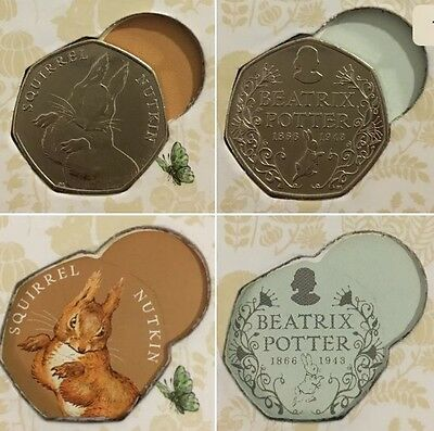 Rare Uncirculated Squirrel Nutkin & Beatrix Potter 2016 50p Coins