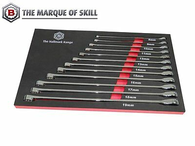 Britool Hallmark Rrxlset12 12Pc Extra Long Double Ring Spanner Set With Ratchet