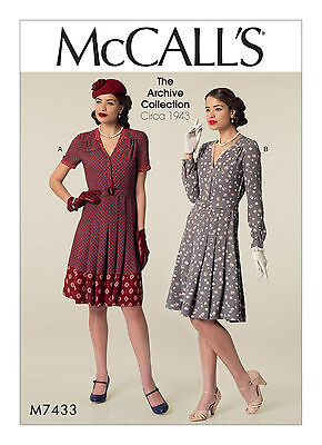 1940s forties style tea dress SEWING PATTERN, McCall's M7433 size 6-22 vintage