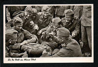 Original WWII Military Postcard, German Soldiers Playing Cards