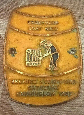Brass Canal Narrow Boat Plaque Brewing & Craft Fair Gathering 1988