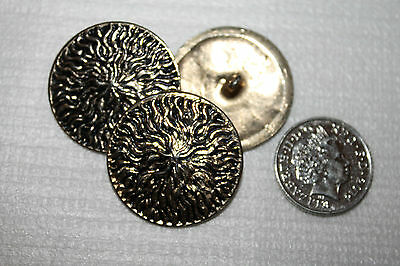 Vintage/Decorative Gold Plated Metal Sewing Buttons