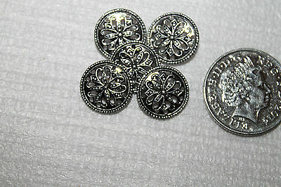 Vintage/Decorative Silver Plated Metal Sewing Buttons
