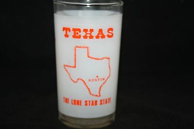 Vintage Texas Frosted Federal Glass Souvenir State Glass 1950s