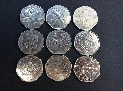 50p Fifty Pence Coin Collection 9 Coins Circulated