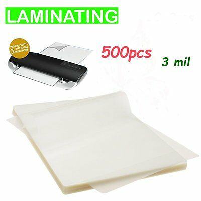 """3 Mil Clear Letter Size Thermal Laminating Pouches 9"""" x 11.5 500-Pack"""