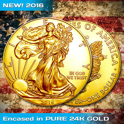 2016 American Silver Eagle 1 Troy oz .999 Pure Silver Limited 24K Gold Plated Ed