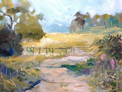 Signed Original Acrylic Landscape Painting - Summer Field - by Annabel Burton