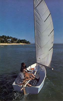 Fiji  -  Guests try out one of The Fijian's sailboats on the lagoon