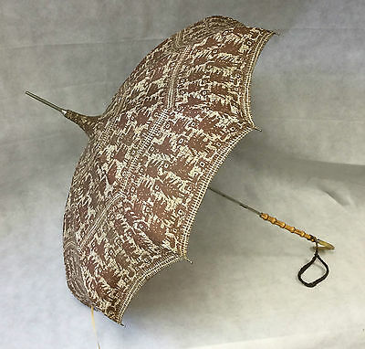 Vintage Retro 1950s Brown Patterned Dome Shaped Parasol Umbrella Bamboo Lucite