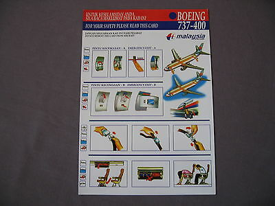 Safety Card BOEING 737 400  Malaysia Arlines