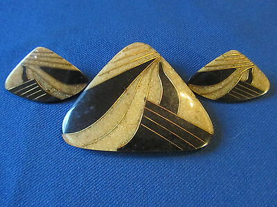 Vintage Earrings & Belt Buckle Clip Set...beautiful Design...exc & Unique!!
