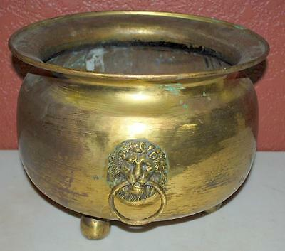 Vintage Large Round Brass Footed Planter With Lion Head Handles 13X10 Inches Ss2
