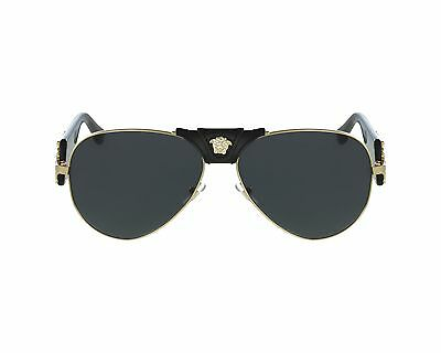 NWT Versace Sunglasses VE 2150Q 1002/87 Black Gold / Dark Gray 62 mm 100287 NIB