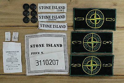 RARE & VTG Stone Island Green Edged 80's 90's Badge Patch Piece N MADE IN ITALY