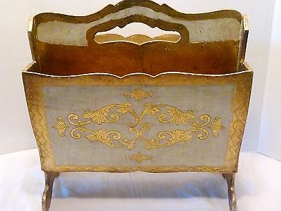 Mid Century ITALIAN FLORENTINE Gold & White MAGAZINE RACK Wood Holder ITALY