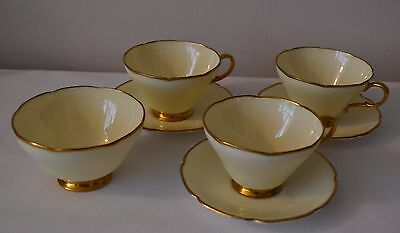 3 Vintage Paragon Fine China Cups & Saucers + Sugar Bowl - Yellow with Gold Trim