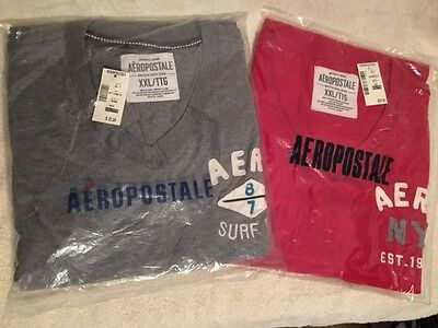Lot Of 2 Boys/mens Aeropostale V Neck T-Shirts - New With Tags - Both Size Xxl