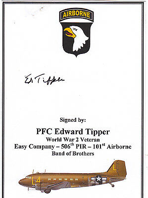CARD SIGNED BAND OF BROTHERS WWII VETERAN - TIPPER (Easy Company 101st Airborne)