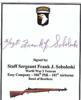 CARD SIGNED BAND OF BROTHERS Veteran - Sobelski (Easy Company 101st Airborne)