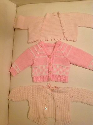 3 X Hand Knitted baby girls Cardigans. 0-3 months. Pink