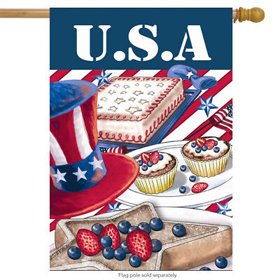 """American Picnic Summer House Flag Patriotic Red White and Blue 28"""" x 40"""""""