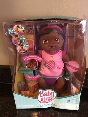 NEW 2011 Baby Alive Wets 'N Wiggles Doll Hasbro Black African Am Drinks & Moves!
