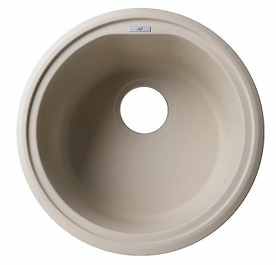 "ALFI AB1717DI-B Biscuit 17"" Drop-In Round Granite Composite Kitchen Prep Sink"