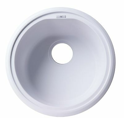 "ALFI AB1717DI-W White 17"" Drop-In Round Granite Composite Kitchen Prep Sink"